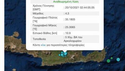 Κρήτη: Τέσσερις σεισμοί μέσα σε μια ώρα, με ίδιο ακριβώς επίκεντρο στο Αρκαλοχώρι!