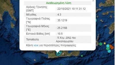 Νέος δυνατός σεισμός «ταρακούνησε» και το Ηράκλειο - Επίκεντρο ξανά το Αρκαλοχώρι!