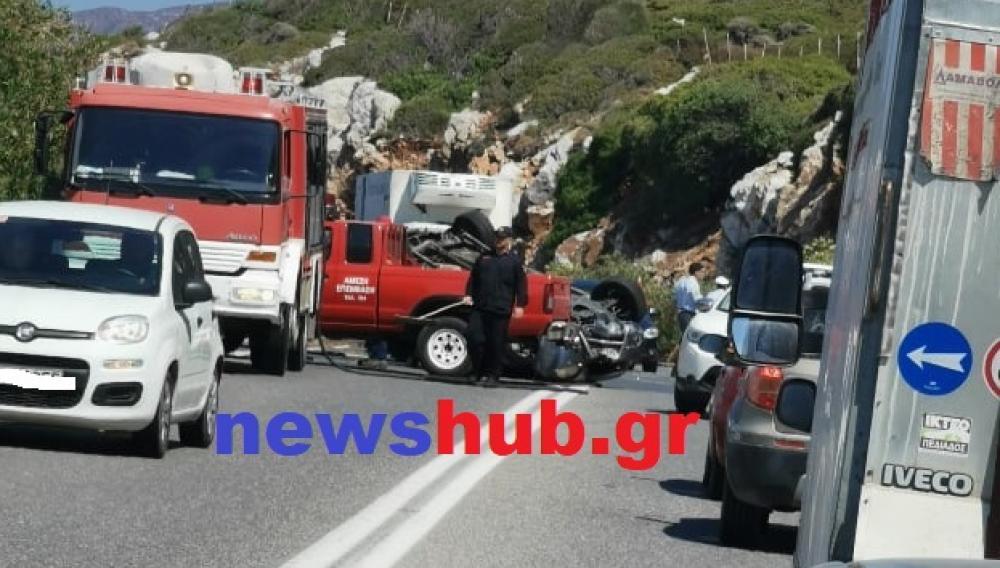 ΒΟΑΚ: Σοβαρό τροχαίο στην Παναγία Χαρακιανή - Τούμπαρε αυτοκίνητο (φωτογραφίες)