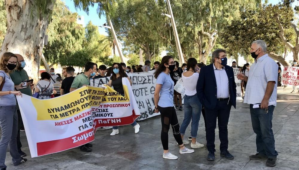 Στην απεργιακή συγκέντρωση στην Πλατεία Ελευθερίας ο Νίκος Ηγουμενίδης